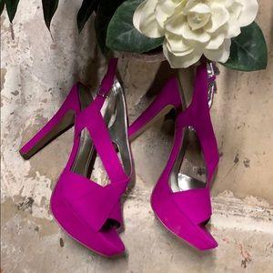 BCBG Paris Harusa fushia platform heeled sandals